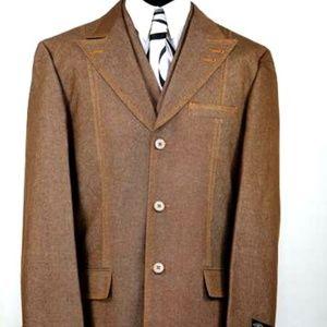 Other - Men's Brown Jeans 3pc. Suit W/Peak Lapel